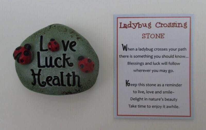 zzm Love luck health LADYBUG CROSSING STONE FIGURINE ganz