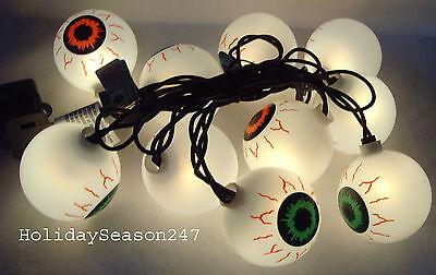 10 Eyeball Halloween Novelty Light Set Multi Color 5.5Ft Yard Outdoor Decoration