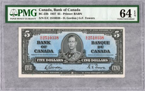 1937 Bank of Canada $5 Banknote, PMG UNC-64 EPQ