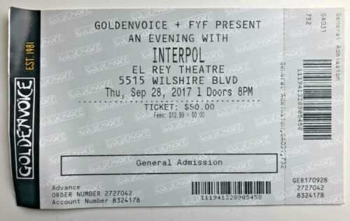 2017 Interpol Ticket Stub 9/28/17 El Rey Theatre, L.A. Turn On the Bright Lights