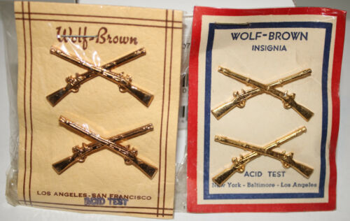 WWII Officer Infantry Collar Insignia Two Types On Original Plasic Wraped Card