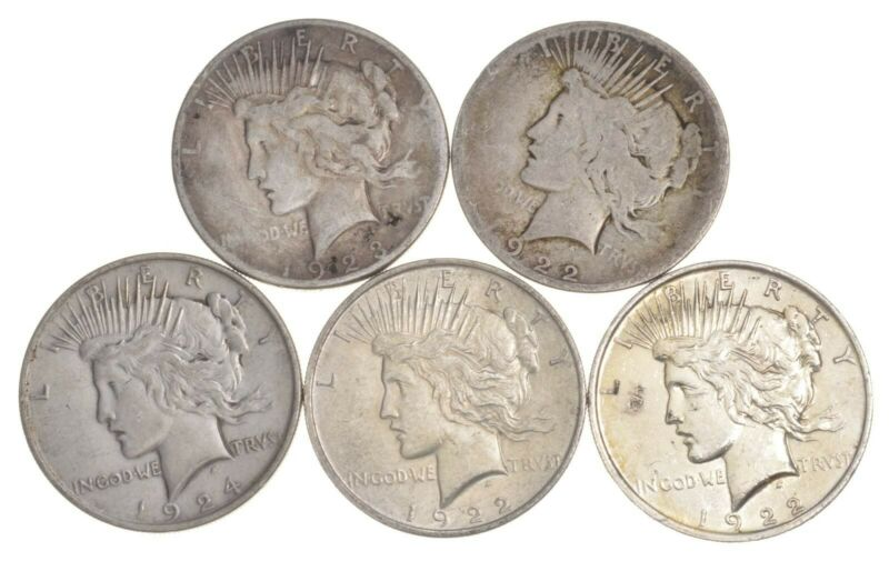 5 Coins US Peace Silver Dollar Collection $1.00 1922-1925 Lot 90% Bullion Cull