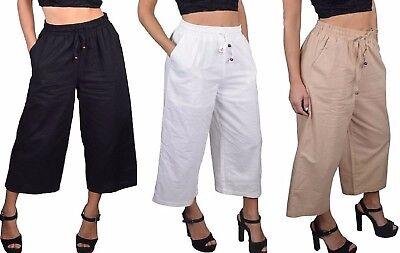 Cropped Capri Gaucho Pants Shorts Lined S M L ()