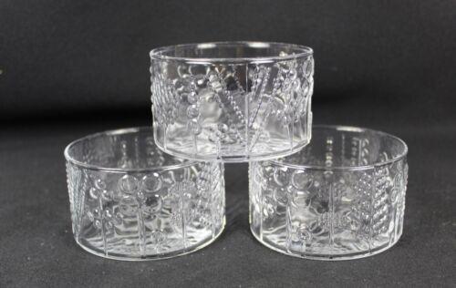 """iittala Nuutajarvi Finland FLORA small 4"""" x 2 1/4"""" Glass Bowl(s) MCM Oiva Toikka"""