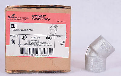 NEW NIB Crouse Hinds Conduit Fitting EL1 45 Degree Female Elbow lot Of ( 10 )