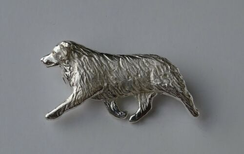 Large Sterling Silver Australian Shepherd Moving Study Brooch
