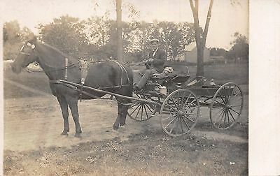 Real Photo Postcard Horse Pulled Grocery Delivery Wagon 112349