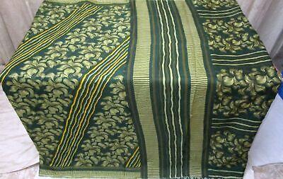 SILK BLEND Antique Vintage Sari Saree Fabric Material 4yd ZZ5 284 Green CRAFT NR