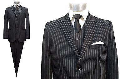 Nadelstreifen Herren Anzug 3-teilig Gr.70 Schwarz