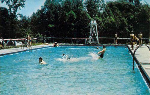 NY Pike CAMP SAM WOOD Boy Scouts of America POOL 1959-64 postcard BS6