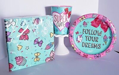 JoJo Siwa Bow Party Supplies Napkins Dessert Plate Cup Decor SUPER CUTE Birthday - Party Dessert Cups