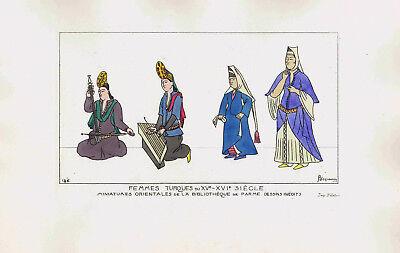 15th-16th Century Turkish Women Musical Instruments- Jacquemin 1869 Print