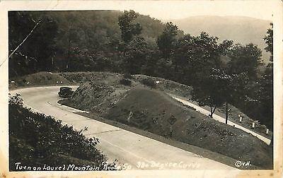 c1930 Turn on Laurel Mountain, Near Macomber, West Virginia Real Photo Postcard