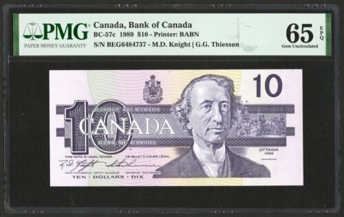 1989 Bank of Canada $10 Banknote, PMG UNC-65 EPQ