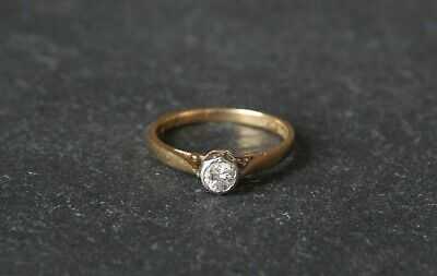 18ct Yellow Gold and Platinum Diamond Solitaire Engagement Ring