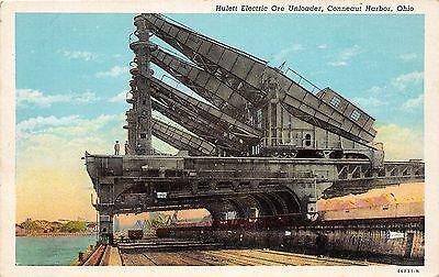 B23/ Conneaut Ohio Postcard c1930s Hulett ELectric Ore Unloader Lake Erie Ships