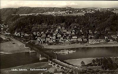 Rathmannsdorf sächsische Schweiz DDR s/w AK 1966 Gesamtansicht von oben Brücke