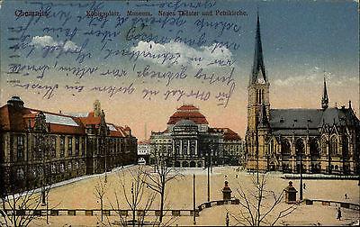 Chemnitz Sachsen AK 1923 Königsplatz Museum Theater Petrikirche Kirche gelaufen