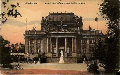 Wiesbaden Hessen AK 1906 Königliches Theater Schillerdenkmal Schiller Denkmal