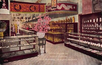 Postcard Interior Sing Fat Co Oriental Emporiam Los Angeles California~119754 (Oriental Angels)