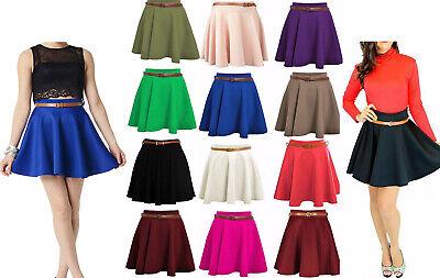 Ladies Belted Flared Plain Mini Skater Skirt Womens Stretch Waist Flippy Skirt