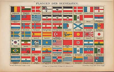 Chromo-Lithografie 1902: FLAGGEN DER SEESTAATEN. See Ozean Schiffe Staaten