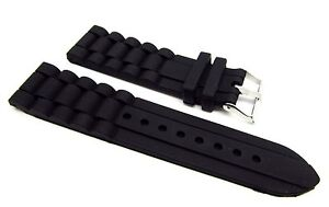 24mm-Black-Silicone-Rubber-Diver-Watch-Band-Strap-For-Fossil-Nate