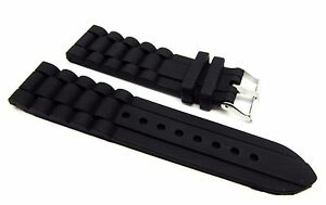 24mm Black Silicone Rubber Diver Watch Band Strap For Fossil Nate