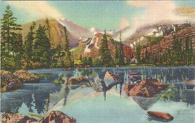Linen postcard, Bear Lake and Glacier Gorge, Rocky Mountain National Park, CO