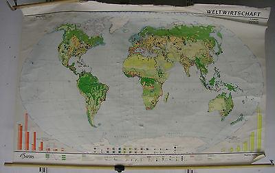 Schulwandkarte Old World Map World Economy 197x126cm Vintage World Map 1968