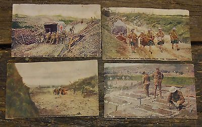 BRITISH POSTCARDS COLOURED LOT OF 4 FROM SCRAPBOOK.