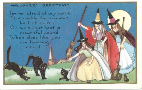 Vintage Whitney Halloween Postcard:  Three Witches with Three Black Cats