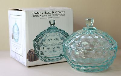 Vintage INDIANA GLASS Candy Box Dish AMERICAN WHITEHALL 1975 Teal Lid Cover