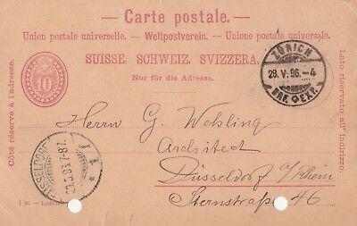Carte Postale von Zürich nach Düsseldorf geschrieben 1896