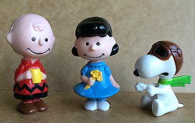 3 Vintage Peanuts Pocket Dolls - Charlie Brown Lucy Snoopy United Feature 1950s