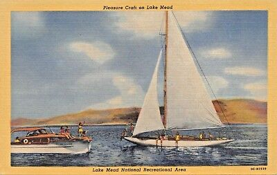 SAIL BOAT & WOOD CRUISER~PLEASURE CRAFT ON LAKE MEAD NEVADA POSTCARD 1940s