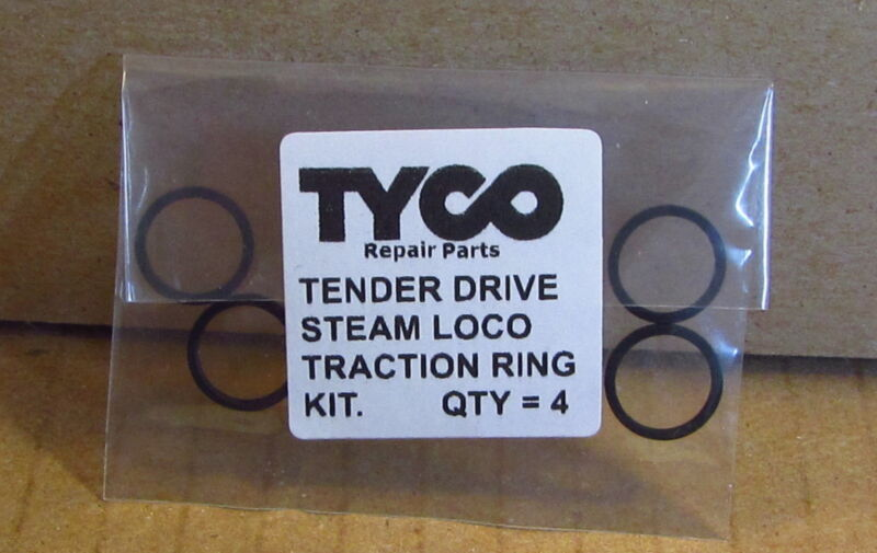 TRACTION TIRES SET OF 4 BLACK FOR TYCO TENDER DRIVE STEAM LOCO MADE IN HONG KONG