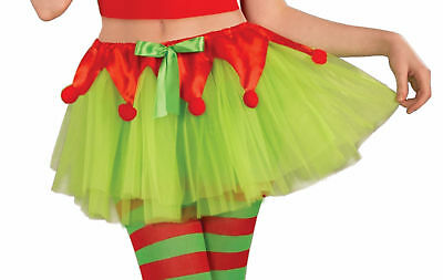 Santa's Little Helper Elf Tutu Adult Xmas Crinoline Red Green Costume Accessory
