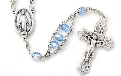 Light Blue AB Czech Glass MIRACULOUS MEDAL Ladder Rosary like aquamarine March for sale  Shipping to Canada
