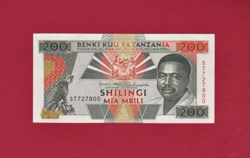200 Shillings Tanzania UNC Note ND (1993), P-25 - President, Leopards, Fishermen