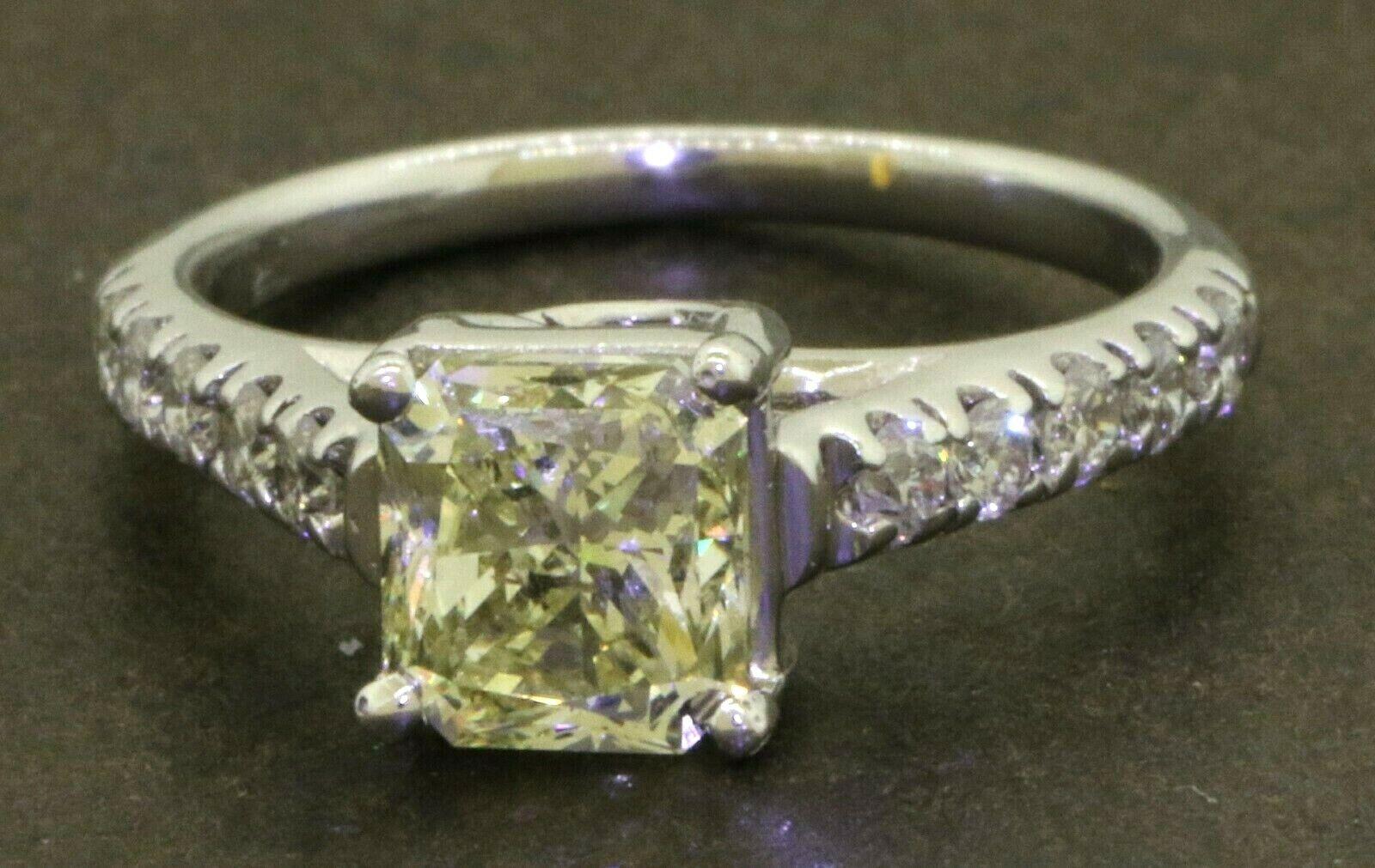 18K WG 2CTW Natural Fancy Light Yellow Radiant diamond wedding ring w/1.60CT ctr