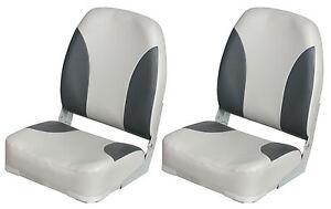PAIR (2) x HIGH BACK FOLDING BOAT SEATS 75101 Grey/Charcoal fishing speedboat
