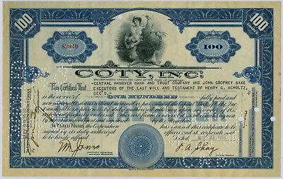 Aktie Coty INc USA 1936 One Hundred Dollar 100 Shares Amerika Wertpapier