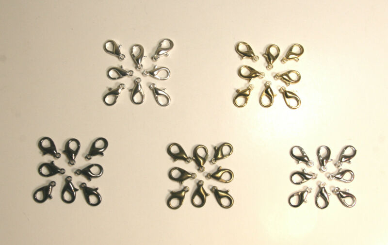 50/60/100/120 Pcs Lobster Clasps Claw Jewelry Hook Findings 10/12/14/16mm