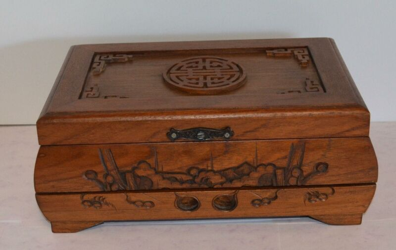 VINTAGE CARVED WOOD CHINESE JEWELRY BOX GREEN LINNING