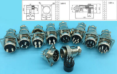 2pin 3pin 4pin 5pin 6pin 7pin 8pin 9pin 10pin Aviation Plug Connector M16 Panel