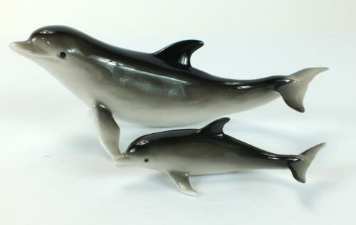 SEAGULL PORCELAIN Mother Dolphin with Baby Figurines