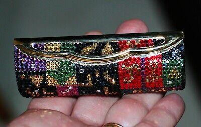 Judith Leiber SIGNATURE Swarovski Crystal Compact mirror HOLDER LIPSTICK pave