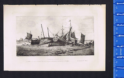 Fishing Craft (Boats), Etched by W. Harbutt after F.L.T. Francia -1877 Etching for sale  Shipping to Canada