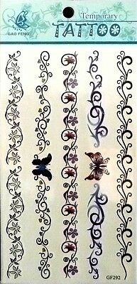 Flower Vines Tattoo (Butterfly Flower Vines Fashion Waist Arm Neck Sexy Temporary Tattoo Stickers 292 )